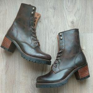 Frye Sabrina Moto Lace Up Boots 6G